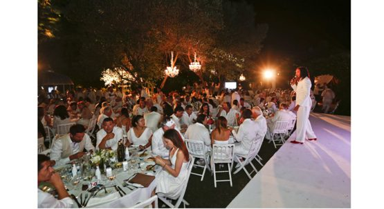 Soiree Blanche a St tropez Christophe Leroy. Un Homage au photographe David Hamilton avec comme Parrain et Marraine. St Tropez, FRANCE - 08/07/2016