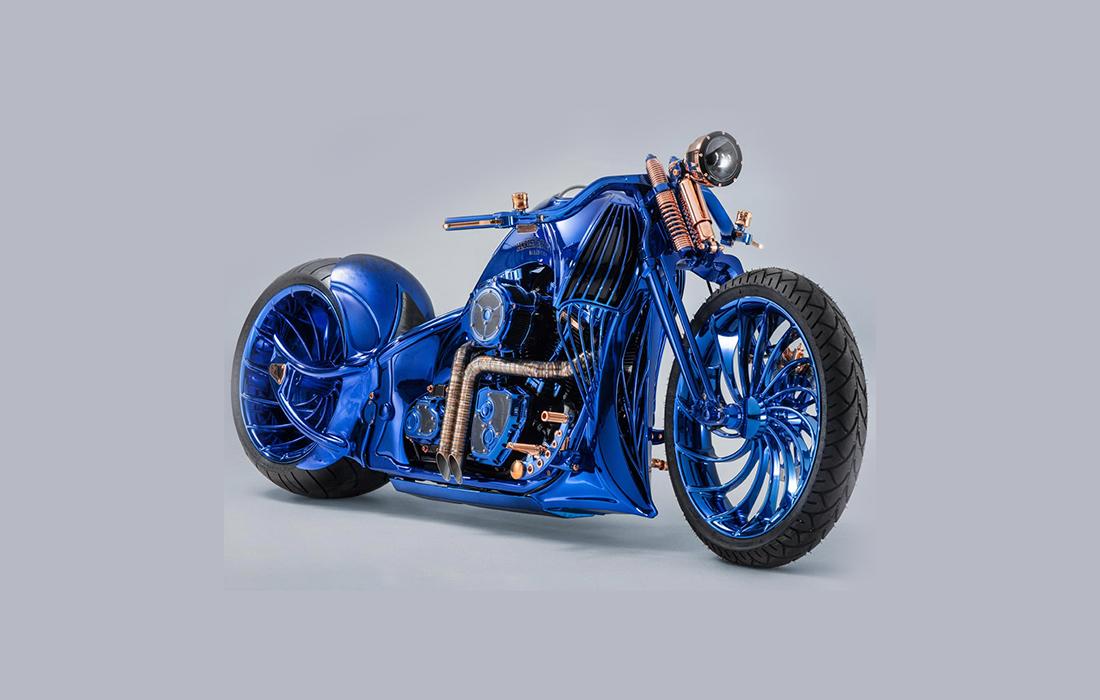 La Harley Davidson Blue Editions: la moto la plus précieuse et la plus chère présentée par Bucherer